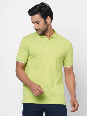 Men's 100% Cotton Polo Lime Regular Fit Tshirt