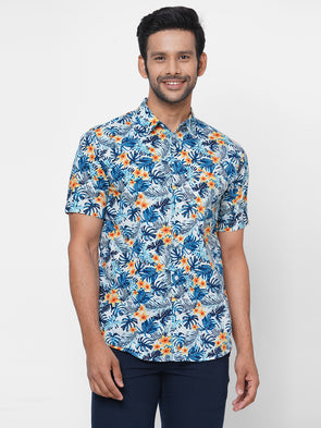 Men's Cotton Blue Floral Printed Regular Fit Shirt