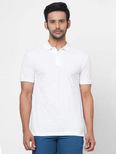 Men's 100% Cotton Polo White Regular Fit Tshirt