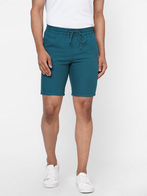 Men's Drawstring 100% Cotton Teal Shorts Comfort Fit