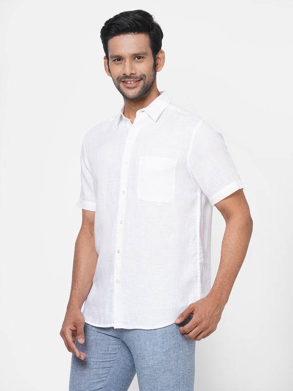 Men's 100% White Linen Short Sleeve Shirt - Regular Fit