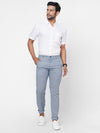 Men's  Cotton  Linen Woven Navy Slim Fit Pants