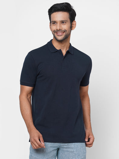 Men's 100% Cotton Polo Navy Regular Fit Polo Tshirt