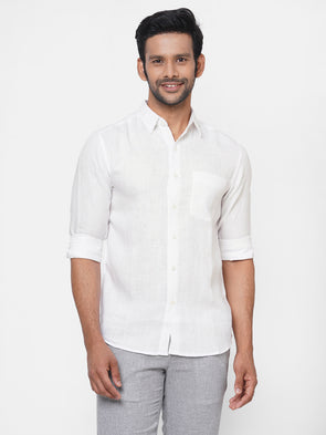 Men's 100% White Linen Long Sleeve Shirt - Regular Fit