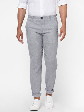 Men's  Cotton  Linen Woven Grey Slim Fit Pants