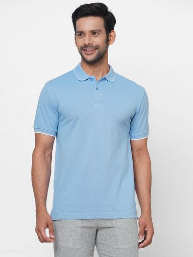 Men's 100% Cotton Polo Sky Blue Regular Fit Tshirt