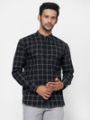 Men's 100% Cotton Black Band Collar Regular Fit Long Sleeved Shirt