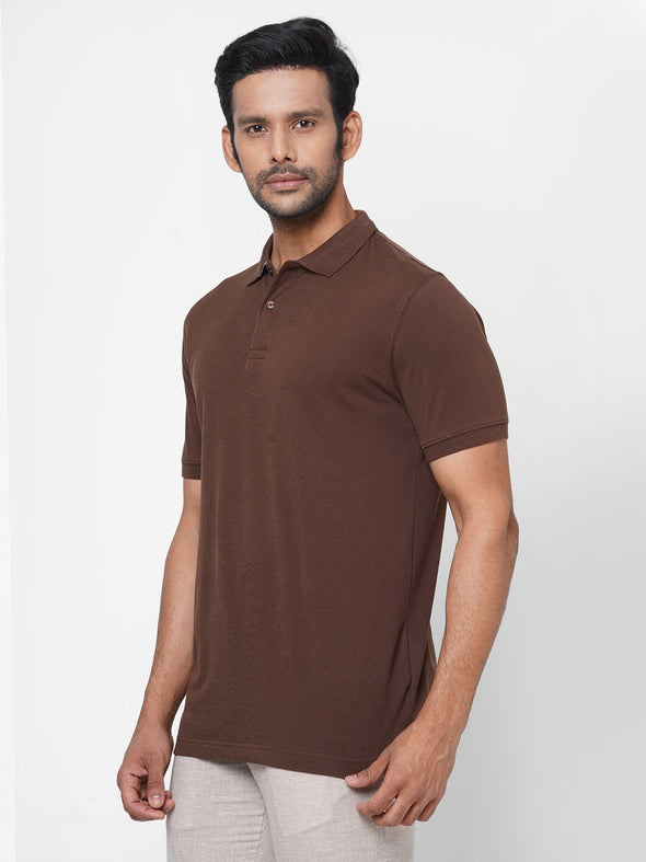Men's 100% Cotton Polo Coffee Regular Fit Polo Tshirt