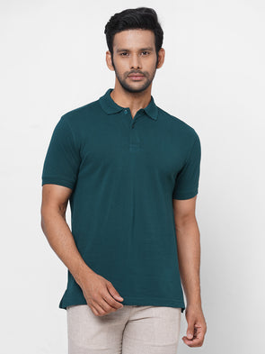 Men's 100% Cotton Polo  Dark Green Regular Fit Polo Tshirt