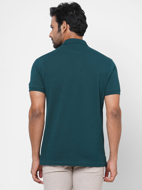 Men's Cotton  Dk Green Regular Fit Tshirt