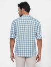 Men's Linen Cotton Blue Regular Fit Checked Shirt