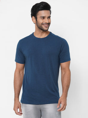 Men's Bamboo Cotton Elastane Blue Regular Fit Tshirt