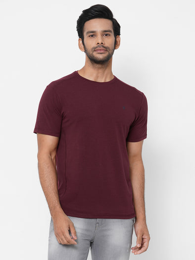 Men's Bamboo Cotton Elastane Wine Regular Fit Tshirt