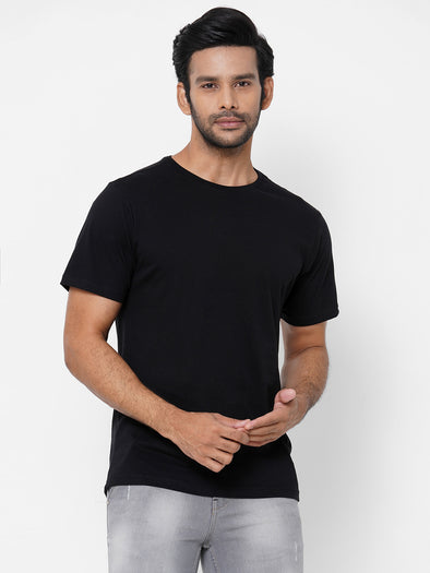 Men's Cotton Black Regular Fit Tshirt