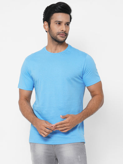 Men's Cotton Blue Regular Fit Tshirt