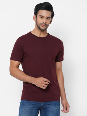 Men's Cotton Wine Regular Fit Tshirt
