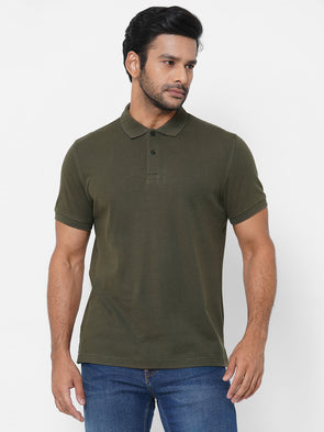 Men's 100% Cotton Olive Regular Fit Crew Neck Tshirt