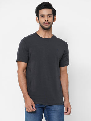 Men's Bamboo Cotton Elastane Grey Regular Fit Tshirt