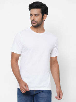 Men's Cotton White Regular Fit Tshirt