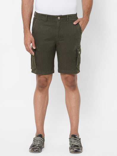 Men's Cargo Shorts Cotton Lycra Olive Regular Fit