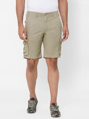 Men's Cargo Shorts Cotton Lycra Khaki Regular Fit
