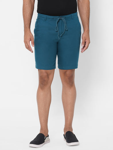 Men's Drawstring Half Elastic Cotton Teal Stripped Comfort Fit Shorts