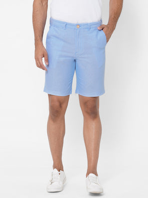 Men's  Cotton Blue Regular Fit Shorts