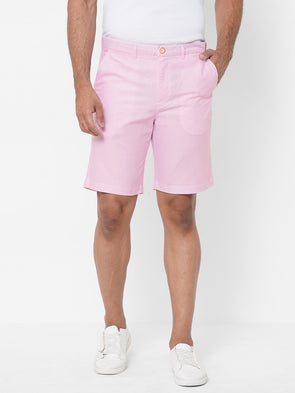 Men's  Cotton Peach Regular Fit Shorts
