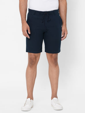 Men's Drawstring Half Elastic Cotton Navy Comfort Fit Shorts