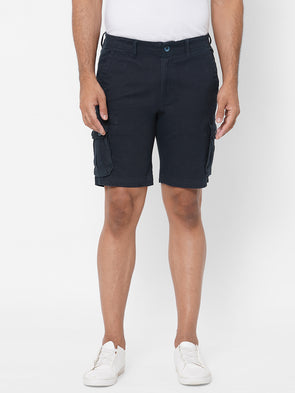 Men's Cargo Shorts Cotton Lycra Navy Regular Fit