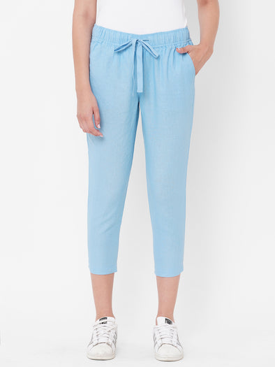 Women's Linen   Blue Regular Fit Pants