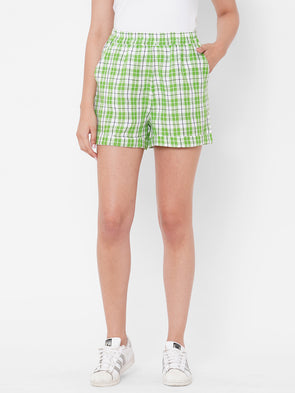 Women's Linen Green Regular Fit Shorts