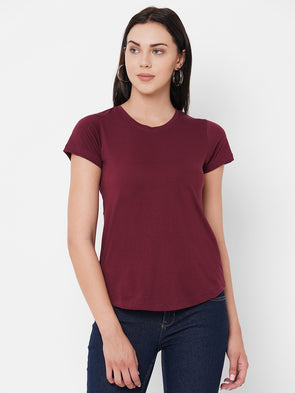 Women's Cotton Wine Regular Fit Tshirt