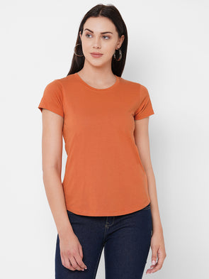 Women's Cotton Rust Regular Fit Tshirt
