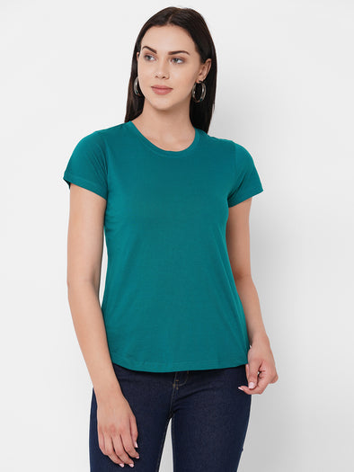 Women's Cotton Teal Regular Fit Tshirt