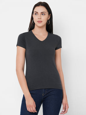 Women's Bamboo Cotton Elastane Grey Regular Fit Tshirt