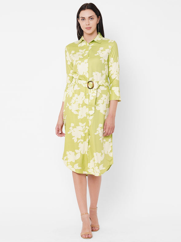 Women's Viscose Green Regular Fit Dress