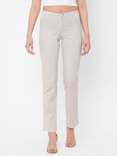 Women's Cotton Lycra Beige Regular Fit Pants