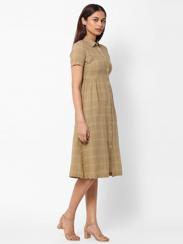 Women's  Cotton Woven Khaki Regular Fit Dress