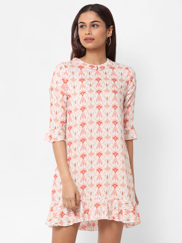 Women's Rayon  Pink Regular Fit Dress