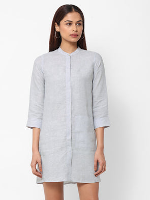 Women's Linen  Grey Regular Fit Dress
