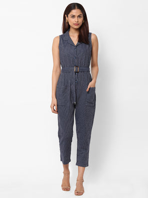 Women's  Cotton Woven Navy Regular Fit Jumpsuit