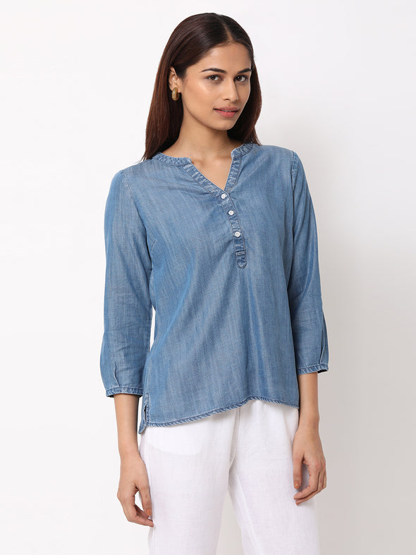 Women's Tencel  Blue Regular Fit Blouse
