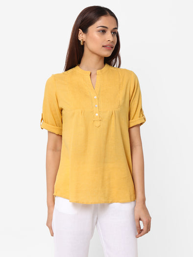 Women's Excel Linen Mustard Regular Fit Blouse
