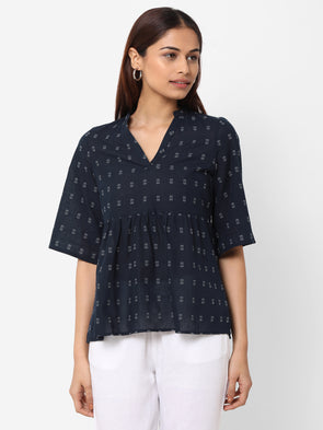 Women's Cotton  Navy Regular Fit Blouse