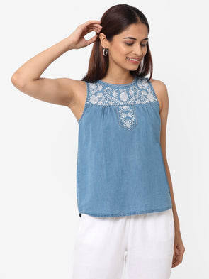 Women's Cotton  Blue Regular Fit Blouse