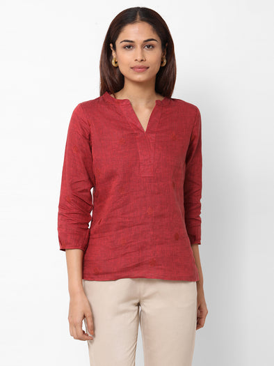 Women's Linen  Maroon Regular Fit Blouse