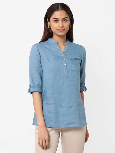 Women's  Linen Woven Blue Regular Fit Blouse