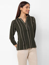 Women's Cotton Flax Olive Regular Fit Blouse