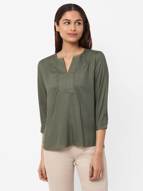 Women's Rayon  Olive Regular Fit Blouse